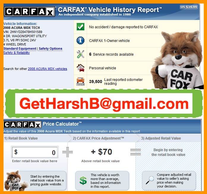 CARFAX and AUTOCHECK Reports 24x7 INSTANTLY