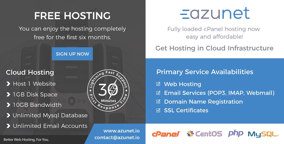 6 Months Free Web Hosting