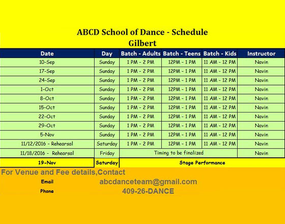ABCD school of Dance classes