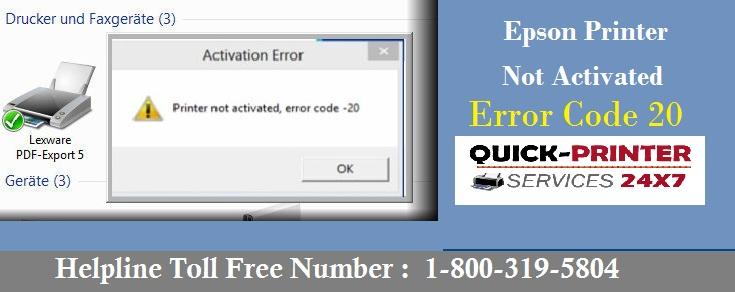 Epson Printer Not Activated Error Code 20