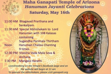 Hanuman Jayanthi Celebrations - Maha Ganapati Temple of Arizona