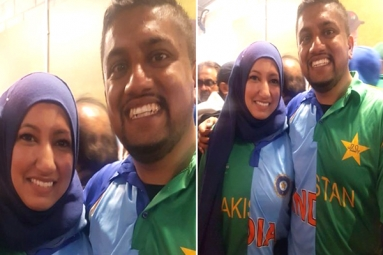 Ind vs Pak ICC World Cup 2019: Indian-Pakistani Couple Spotted Wearing Half-And-Half Indo-Pak Jerseys