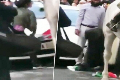 Watch: Journalist Jumps into Violent Protest to Save Indian Tricolor