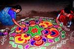 how to make peacock rangoli, rangoli making, spiritual and cultural significance of making rangoli outside the house, Energy