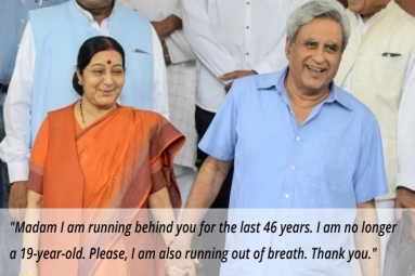 'Madam I Am Running Behind You': Heartfelt Letter by Sushma Swaraj's Husband on Her Retirement