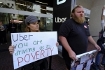 uber drivers in united states, uber drivers in united states, uber lyft drivers protest across the u s, Manhattan