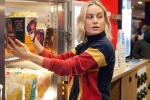 captain marvel release date in india, Brie Larson in captain marvel, captain marvel star brie larson surprises her fans in amc theaters by serving popcorn, Captain marvel